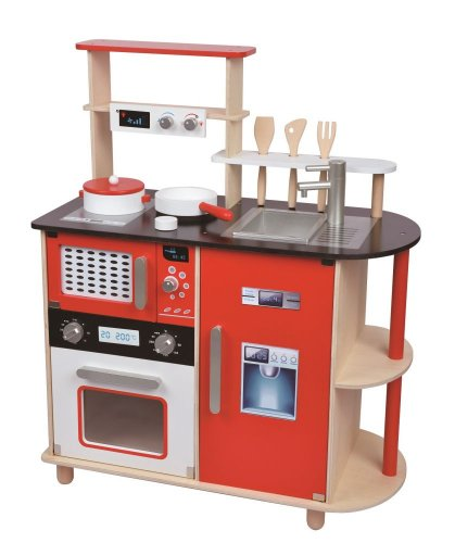 Duża Drewniana Kuchnia Dla Dzieci Nowoczesna Mikrofalówka Piekarnik Zegar Dla Dziewczynki Chłopca Zabawkowa Kuchenka