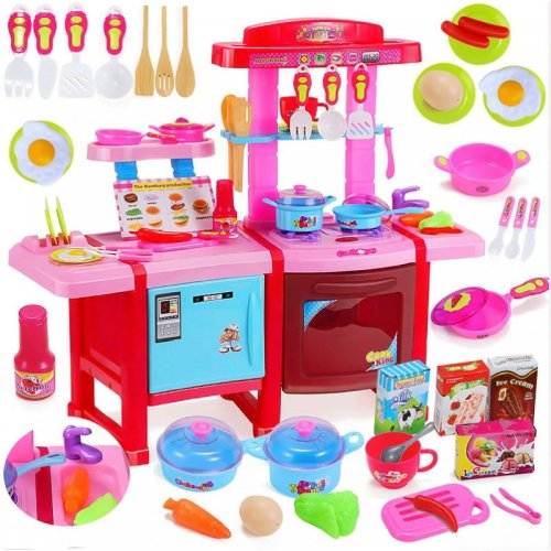 Duża Kuchnia Dla Dzieci Kuchenka Dziecieca 32 El Lodówka Piekarnik Obieg Wody Garnki Kuchnia Zabawkowa Plastikowa Kuchenka Zabawkowa