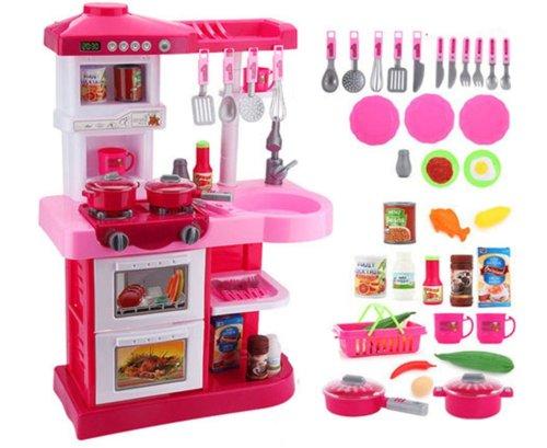 Duża Kuchnia Dla Dzieci 40 El Lodówka Kran Dźwięki Zmywarka Piekarnik Garnki Zabawki Dla Dzieci Dziewczynki Chłopca Zabawkowa Zegar A17r