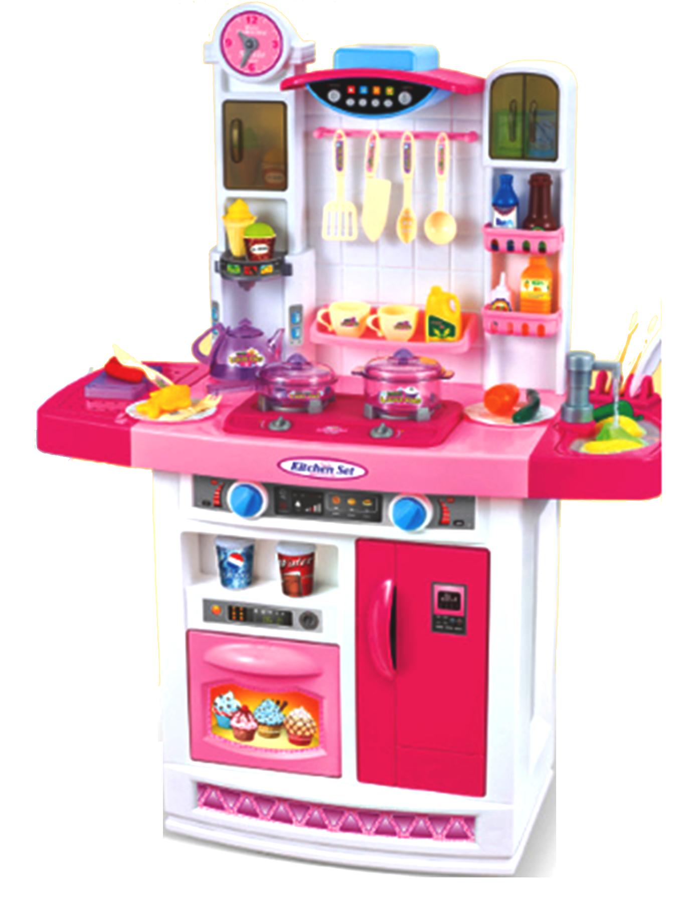 Wielka Kuchnia Dla Dzieci Dziewczynki Chłopca Kran Okap Lodówka Kuchenka Zabawkowa Akcesoria Garnki 798b