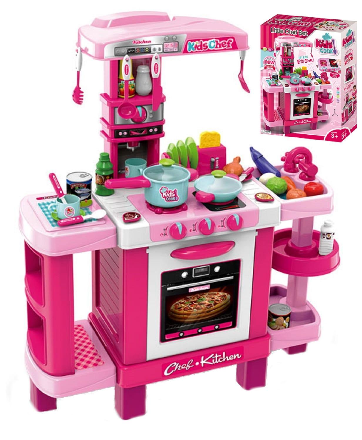 Kuchnia Dla Dziewczynki Dzieci Zabawkowa Z Akcesoriami Różowa Toster Express 008 938