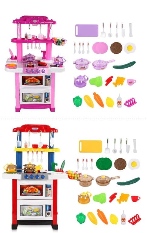 Dwustronna Kuchnia Dla Dzieci Grill Kran Z Woda Rozowa