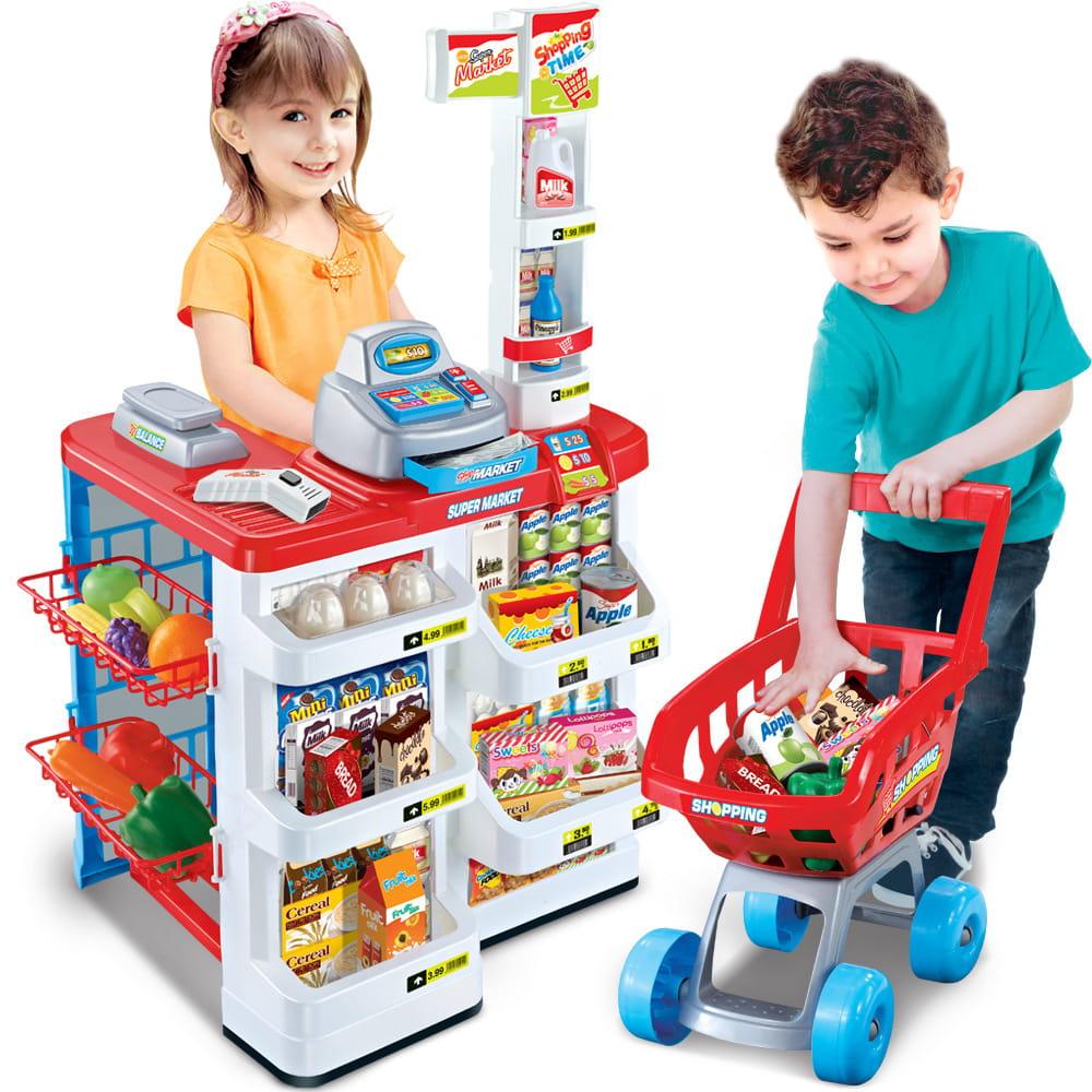 Sklep Dla Dzieci Zabawkowy Supermarket Market Wozek Na Zakupy