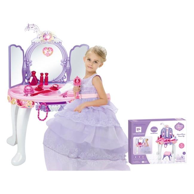 Toaletka dla dziewczynki dzieci zabawkowa na pilota różdżkę mp3 sensor + MP3 + suszarka + lustra + grzebień + suszarka + suszarka + biżuteria + atrapy